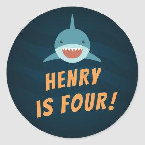Shark Bait | Personalized Kids Birthday Classic Round Sticker