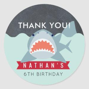 Shark Boy Navy Blue Pool Birthday Thank You Classic Round Sticker