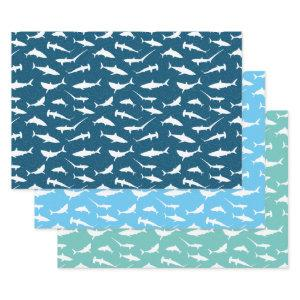 Shark Frenzy Blue White Wrapping Paper Sheets