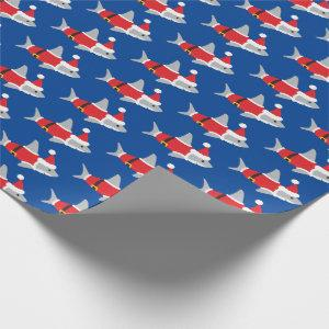 Shark in Santa Outfit Blue Red Gray Christmas Wrapping Paper