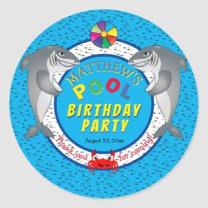 Shark Infested Boy Birthday Pool Party Classic Round Sticker