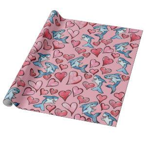 Shark Lovers Sharks and Heart Pattern Valentine Wrapping Paper