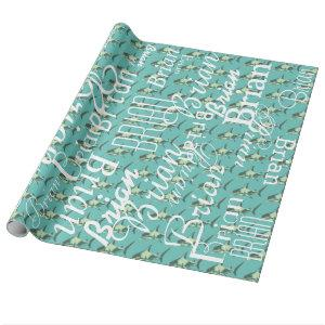 shark / pattern of names personalized wrapping paper