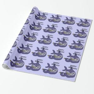 Shark Playing Flute Birthday Giftwrap Wrapping Paper