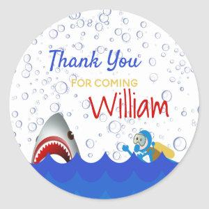 Shark under the sea birthday party thank you classic round sticker
