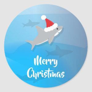 Shark with Santa Hat Merry Christmas Sticker