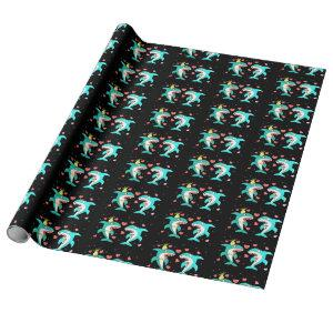 Sharks Black Wrapping Paper