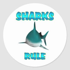 Sharks Rule Classic Round Sticker