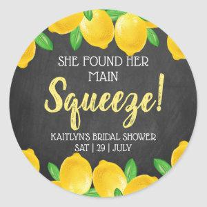 She Found Her Main Squeeze Lemon Bridal Shower Classic Round Sticker