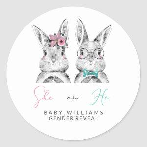 She or He Pink & Blue Bunny Gender Reveal Shower Classic Round Sticker