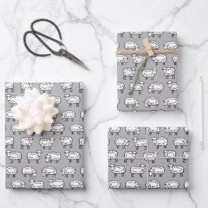 Sheep Pattern - Black, White and Gray Wrapping Paper Sheets