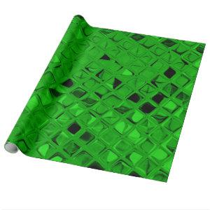 Shiny Metallic Emerald Green Diamond Serpentine Wrapping Paper