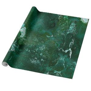 Shiny Silver and Green Malachite Emerald Marble Wrapping Paper