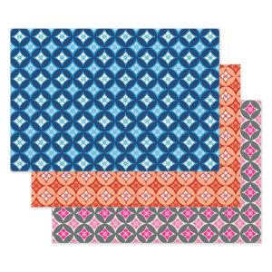 Shippo with Flower Motif, Blue, Orange, Pink Wrapping Paper Sheets