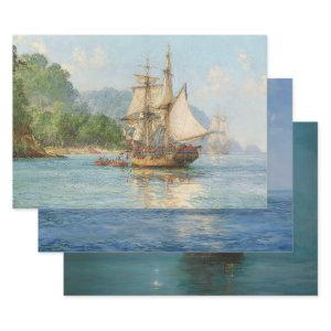 SHIPS IN CALM WATERS DECOUPAGE PRINTS  WRAPPING PAPER SHEETS