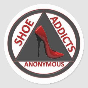 Shoe Addicts Anonymous Classic Round Sticker