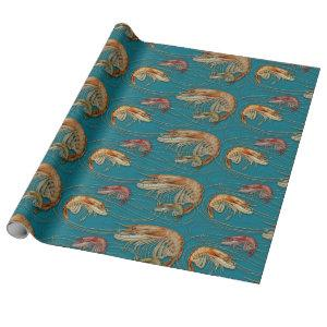 Shrimp Seafood Shellfish Pattern Teal Wrapping Paper