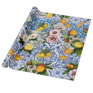 Sicilian style tiles with flowers and lemon wrapping paper