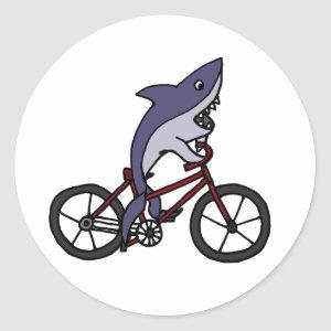 Silly Shark Riding Bicycle Cartoon Classic Round Sticker
