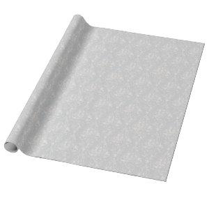 Silver Aged Damask Pattern Wrapping Paper