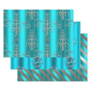 Silver and Metallic Aqua Christmas Wrapping Paper Sheets