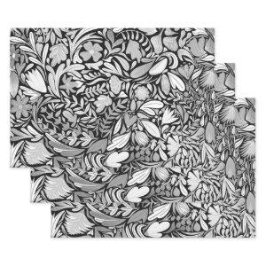 Silver Black Floral Leaves Illustration Pattern Wrapping Paper Sheets