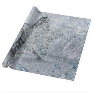 Silver blue star wrapping paper