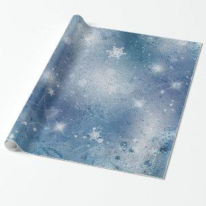 Silver blue stars wrapping paper
