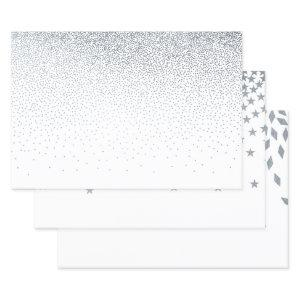 Silver Dot, Star And Diamond Foil Wrapping Paper Sheets