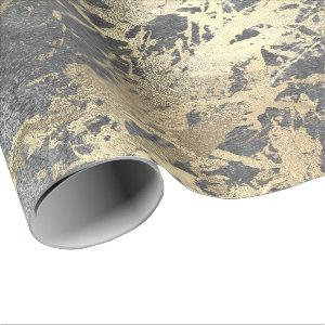 Silver Foxier Gold Marble Shiny Metallic Strokes Wrapping Paper