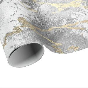 Silver Glass Gold Marble Shiny Metallic Strokes Wrapping Paper