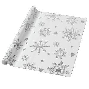 Silver Glitter Christmas Holiday Snowflake Pattern Wrapping Paper