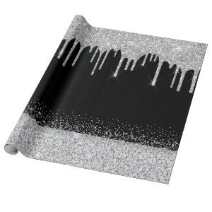 Silver glitter drips black sparkle wrapping paper