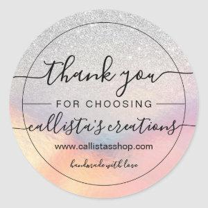 Silver Glitter Iridescent Holographic Thank You Classic Round Sticker