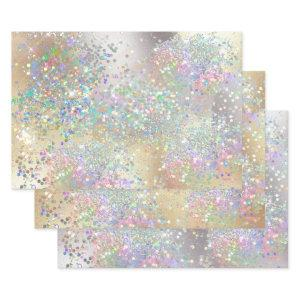 Silver gold glitter sparkling metallic foil girls wrapping paper sheets