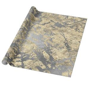 Silver Gray  Abstract Molten Champaign Gold VIP Wrapping Paper