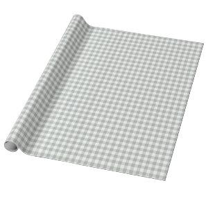 Silver Gray Gingham Wrapping Paper