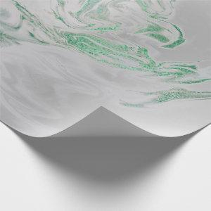 Silver Gray Green Emerald Mint Marble Shiny Glam Wrapping Paper