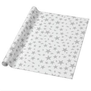 Silver Gray Stars Print Pattern Wrapping Paper