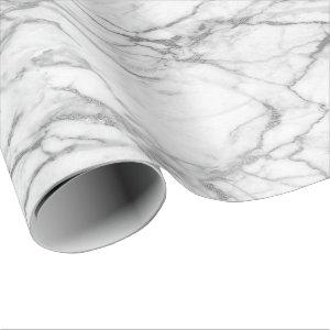 Silver Gray White Carrara Marble Stone Glam minima Wrapping Paper