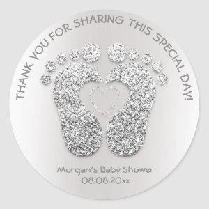 Silver Heart Feet Baby Shower Favor Thank You Gray Classic Round Sticker