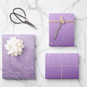 Silver Leopard Print Purple Ombre Wrapping Paper Sheets