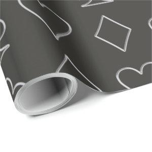 Silver Poker Symbols Wrapping Paper