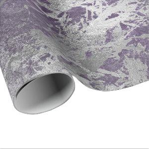 Silver Purple Gray Marble Shiny Metallic Strokes Wrapping Paper