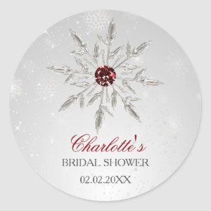 silver red snowflakes bridal shower stickers