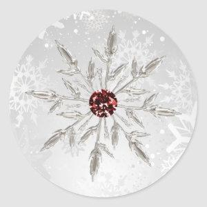 silver red snowflakes winter wedding stickers