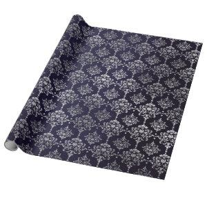 Silver Royal Blue Navy Gray Floral Damask Vip Wrapping Paper