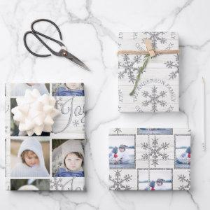 Silver Snowflake Christmas Holiday Your Photos Wrapping Paper Sheets