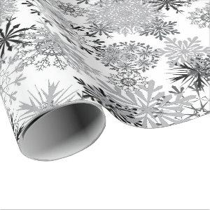 Silver snowflake pattern Christmas wrapping paper