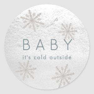 Silver Snowflakes Baby It's Cold Outside Classic Round Sticker